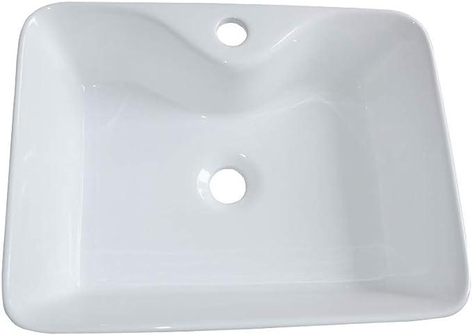 Lavabo de cer/ámica lavabo ovalada Lavamanos Cuarto de Ba/ño 48x37 Lavabo sobre encimera
