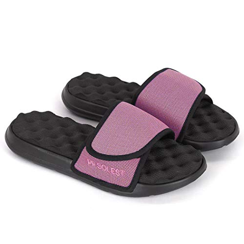 PR Soles Adjustable Strap Massaging Recovery Slide Sandal | Pink | Mens 7 | Womens 8.5