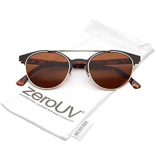 zeroUV - Modern Double Crossbar Thick Arms Round Neutral Color Horned Rim Sunglasses 50mm (Brown Gold / - Sunglasses Brown Thom