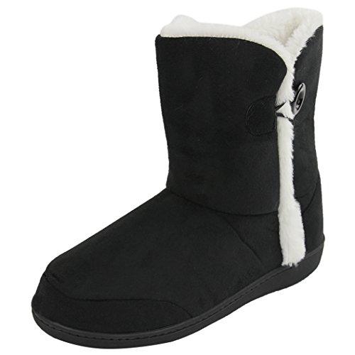 Home Slipper Womens Winter Warm Cozy Fleece Memory Foam Indoor House Slippers Boots Black k2T6RJ
