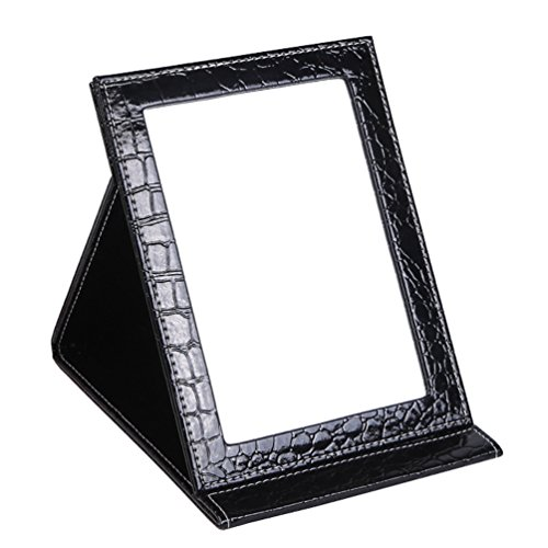 Wujee Folding Vanity Makeup Mirror with Standing - Portable Travel Mirror - PU Leather Desktop Mirror - Compact Pocket Cosmetic Mirror for Home Hotel Office Work Desk (Black Medium) -
