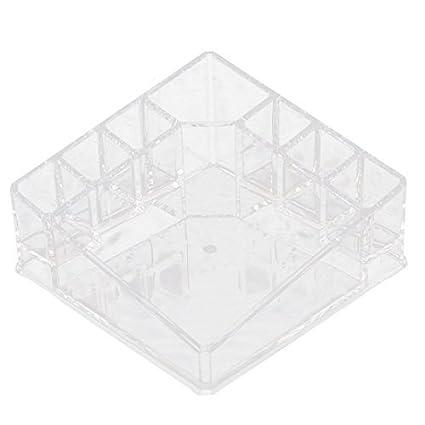eDealMax acrílico 8 compartimentos de maquillaje almacenamiento de herramientas caja del sostenedor de la joyería Organizador