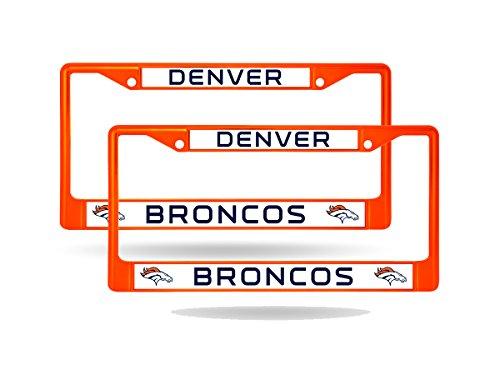 (Rico Denver Broncos Orange Painted Chrome Metal (2) License Plate Frame Set)