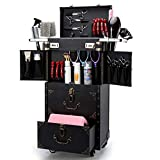 ASCASE Rolling Lockable Makeup Train Case Hairdressing Trolley Stylist Beauty Salon Cosmetic Luggage Travel Organizer Tool Box Hair Dryer Holder
