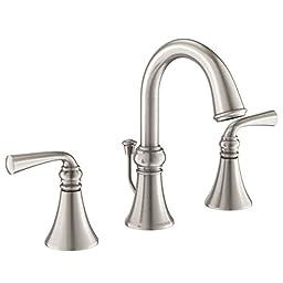 Moen WS84855SRN Two-Handle High Arc Bathroom Faucet, Spot Resist Brushed Nickel