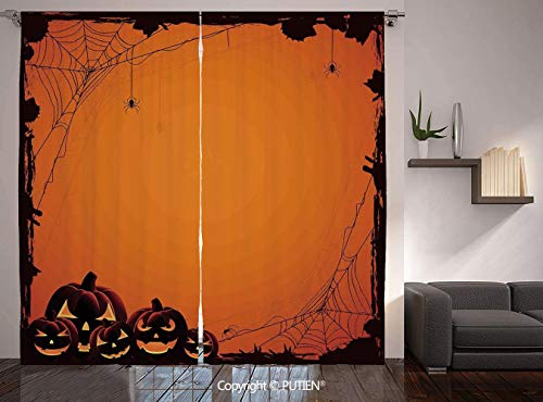 Thermal Insulated Blackout Window Curtain [ Halloween Decorations,Grunge Spider Web Pumpkins Horror Time of Year Trick or Treat,Orange Seal Brown ] for Living Room Bedroom Dorm Room Classroom Kitchen