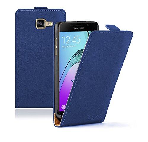 Membrane Funda Samsung Galaxy A5 2016 Carcasa Negro Ultra Slim Case Flip Cover + 2 Protectores de Pantalla Slim Azul