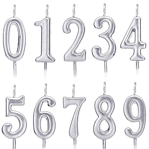 ZZPRO 10 PCS Cake Numeral Candles, Birthday Numeral Candles, Number 0-9 Glitter Cake Topper Decoration for Birthday Favor,Party Celebration]()