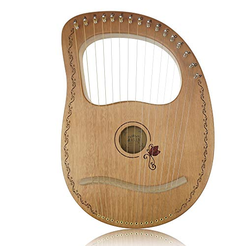 Flying MelodyOW16-String Wooden Lyre Harp,Mahogany Wood String Instrument with Carry Bag,Tuning Wrench,Cleaning Cloth and backup 16 Strings
