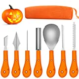 Greatever 2018 Newest Halloween Pumpkin Carving Kit,Professional and Heavy Duty Stainless Steel Tools,Pumpkin Carving Set with Carrying Case (7Pcs)