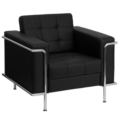 MFO Sophia Collection Contemporary Black Leather Chair with Encasing Frame