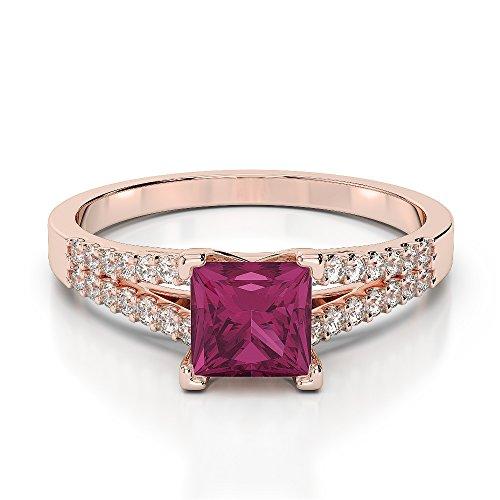 Or Rose 18carats 1CT G-H/VS Certifié Rubis et diamants taille princesse Bague de fiançailles Agdr-1211