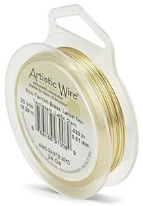 Beadalon Artistic Wire - Alambre para manualidades (calibre 24, 18,2 m, no se deslustra), color dorado