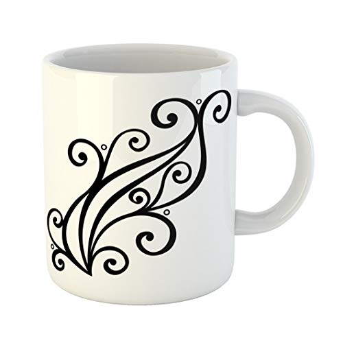 Emvency Funny Coffee Mug Black Tracery Abstract Design Abstraction Arabesque Calligraphy Creativity Curl 11 Oz Ceramic Coffee Mug Tea Cup Best Gift Or Souvenir (Scroll Symbol Calligraphy)