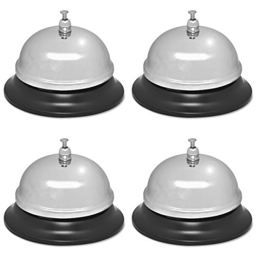 Plated Bell Nickel Call - Sparco Nickel Plated Call Bell, 2 3/4-Inch High, 3 3/8-Inch Base, Chrome/Black (SPR01583), 4 Packs