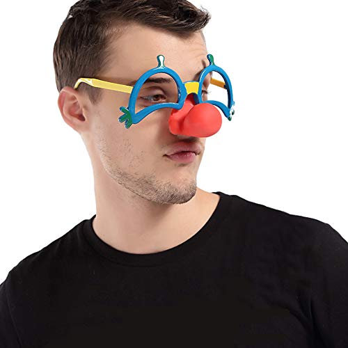 Red Nose Clown Mask Fancy Dress Up Costume Party Props Fun Circus Glasses -