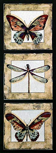 Butterfly Dragonfly I | Woven Tapestry Wall Art Hanging | Butterfly and Dragonfly Panel Art | 100% Cotton USA Size 49x18