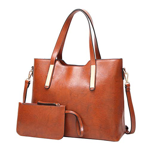 - HYSGM 2Pcs Women Pattern PU Leather Solid Color Fashion Handbag+Wallets For Ladies gift (Brown 02)