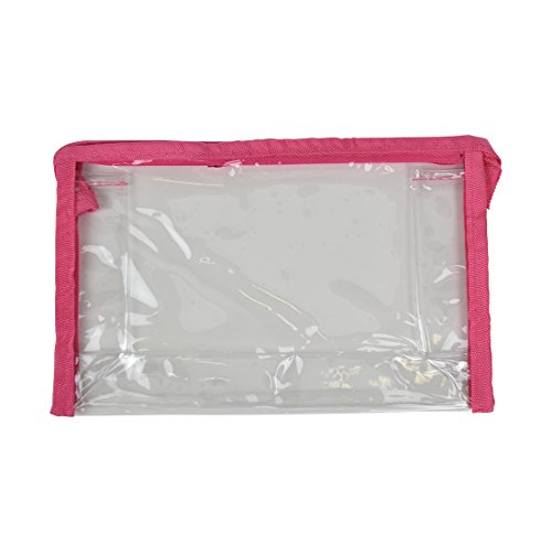 Clear Cosmetic Bag Travel Pouch Pencil Case With Pink Trim