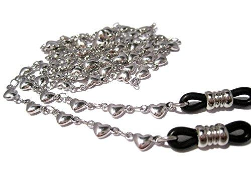 ATLanyards Solid Hearts Chain Eyeglass Holder with Black Grips - Eyeglass Chain with Hearts