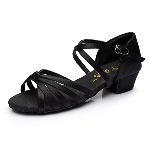 Shoes Shoes Jazz BYLE Sandals Onecolor Strap Low Dance Dance Modern Shoes Children's Leather Latin Dance Black Satin Ankle Samba Girls' Heel Soft 8FS8nY