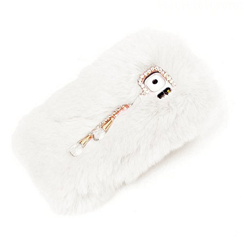 (for Samsung Galaxy Note 4 Case,Rejected all traditions Lovely Bling Diamond Bow Rhinestone Shiny Pendant Rabbit Fur Fluffy Soft Anti-Shock Back Case - White)