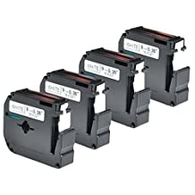 "Karl Aiken 4 Pack Compatible Brother P-touch M221 M-K221 MK221 Black on White M Tape for Brother P Touch Label Maker PT-90 PT-M95 PT-70BM PT-70 PT-65 PT-85 PT-45 (3/8"" x 26.2' 9m x 8m)"