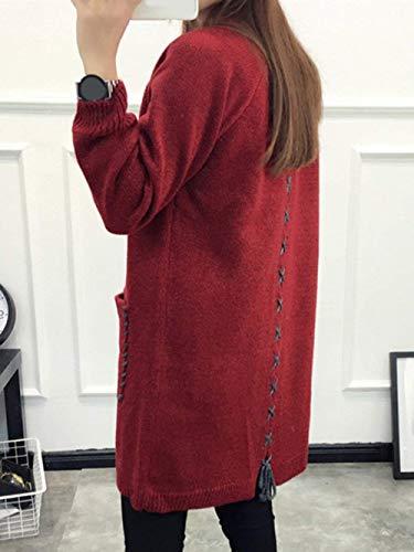 Lunga Donna Outerwear Manica Lacci Moda Con Autunno Giovane Eleganti Solidi Casual Women Festiva Colori Retro Cardigan Tasche Invernali Cappotto Giacca Burgund Maglia A AArqwax