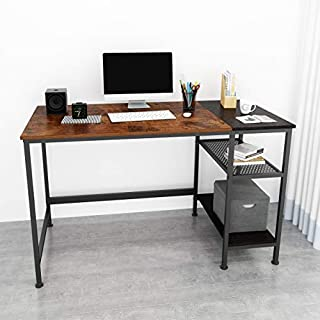 JOISCOPE Computer Desk with Shelves,Laptop Table with Grid Drawer,47 inches(Vintage Oak Finish)