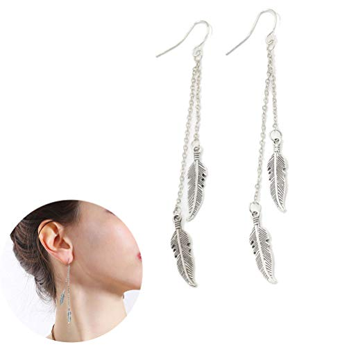 JUESJ Metal Fringed Double Chain Leaf Earrings,2 Chain Leaf Feather Pendant Earrings for Women gGirls Birthday Gifts (Silver)