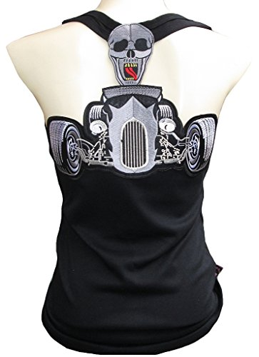 Rockabilly Punk Rock Baby para mujer Schwarz Tank Top Camiseta Hot rod Racing calavera