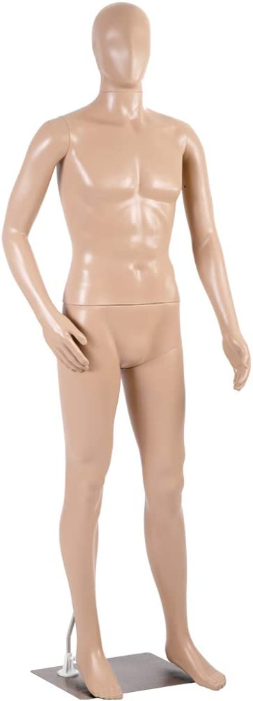 Full Male Body Realistic Head Turns with Metal Base Mannequin Stand Adjustable 73 Inch Display Stand Dress Model