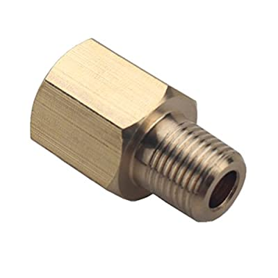 Dewhel Brass 1/8 NPT Female to 1/8 BSPT Male Gauge Sensor Sender Thread Adapter Reducer: Automotive
