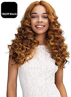 JANET COLLECTION SWISS LACE EXTENDED PART DEEP WIG - GABRIELA (1B (OFF BLACK))