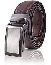 SIGLO® Cinturón para Hombres de Piel con Hebilla Automática y Diseño sin Agujeros, Tamaños 30-44 — Hebilla Rectangular