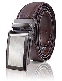 SIGLO® Cinturón para Hombres de Piel con Hebilla Automática - Diseño sin Agujeros - Cinturón de Clic Ajustable - Se adapta a tamaños 30-44 - Corte a su Ajuste Exacto - Correa Café y Hebilla Plateada