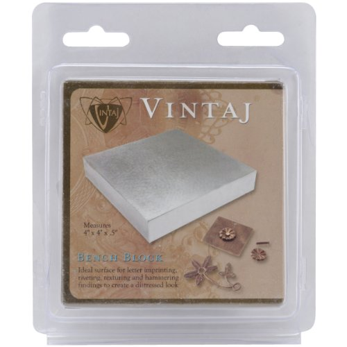 Silver Metal Letter Beads (Beadsmith Vintaj Steel Bench Block, 4 by 4 by 0.5-Inch)