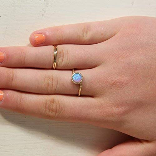 Custom Opal Ring October Birthstone Blue Opal Jewelry 14k Gold Filled Ring