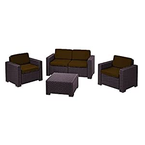 416hodx4NdL. SS300  - Gardenista Brown Replacement 8 Piece Seat Cushions Set for Keter Allibert California Outdoor Patio Set