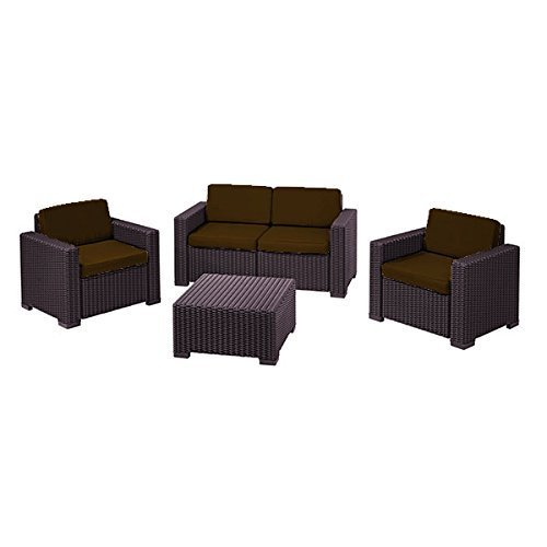 Brown Replacement 8 Piece Seat Cushions Set For Keter