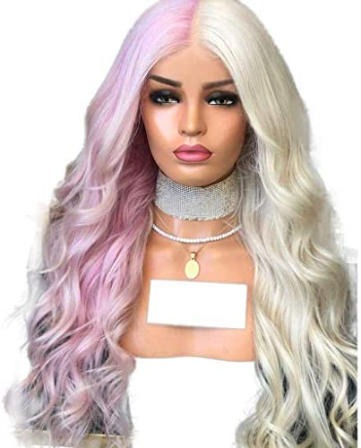 XUPE - Peluca de pelo sintético para mujer, color rosa y ...
