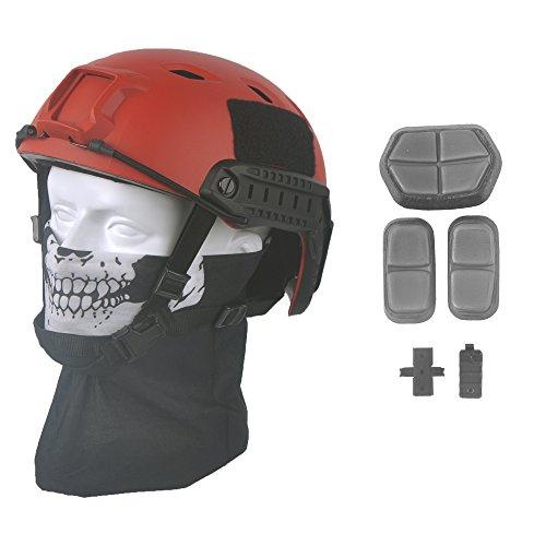 LOOGU Fast BJ Base Jump Military Helmet with 12-in-1 Headwear (RD) ()