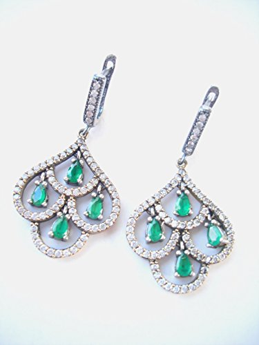 Antique Turkish Ottoman Silver and Green Emerald Stone Earrings