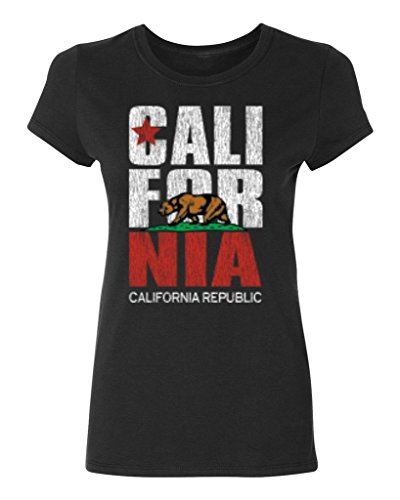 P&B California Republic Bear White Women's T-shirt, L, Black (Bear Womens Cut T-shirt)