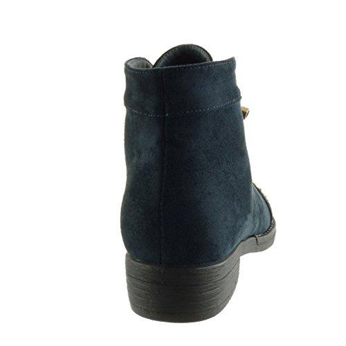 Angkorly - Zapatillas de Moda zapato derby Desert Boots biker - motociclistas mujer tachonado estrella Talón Tacón ancho 3 CM - plantilla Forrada de Piel Azul