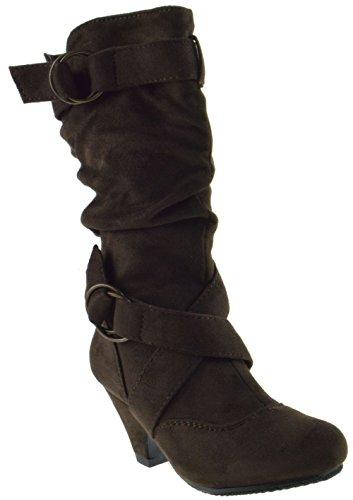 (CC Pauline 38K Buckle Knee High Dress Boots Brown 3)