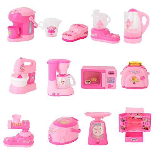 Happy Choi Kids Play Kitchen Toys Assorted Mini Household Appliance Kitchen Play Set for Kids 12PCS