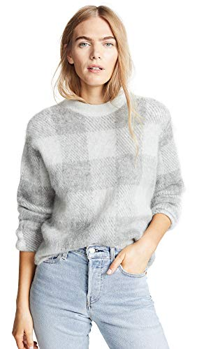 Vince Women's Plaid Crew Neck Sweater, Silver/Med Grey, ()