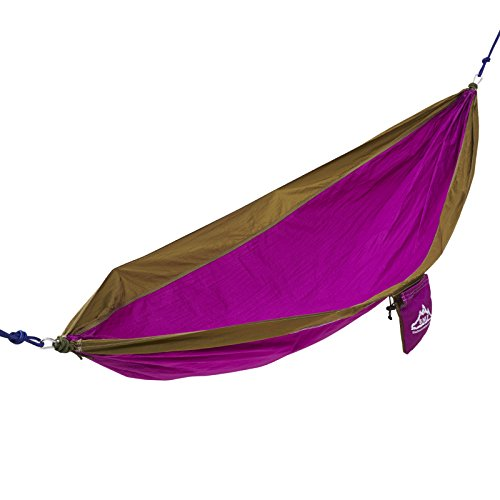 NW Survival 1-Person High-Thread-Count Parachute Hammock with Ropes & Carabiners, Purple