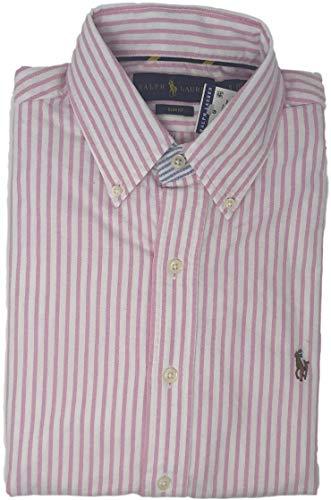 Polo Ralph Lauren Mens Stretch Oxford Slim Fit Sport Shirt, Basic Pink Stripe S ()